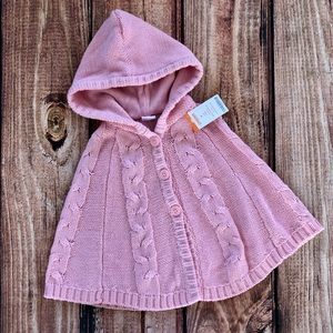 2T light pink cable knit poncho from Gymboree